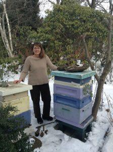 Kim Eierman with Hives
